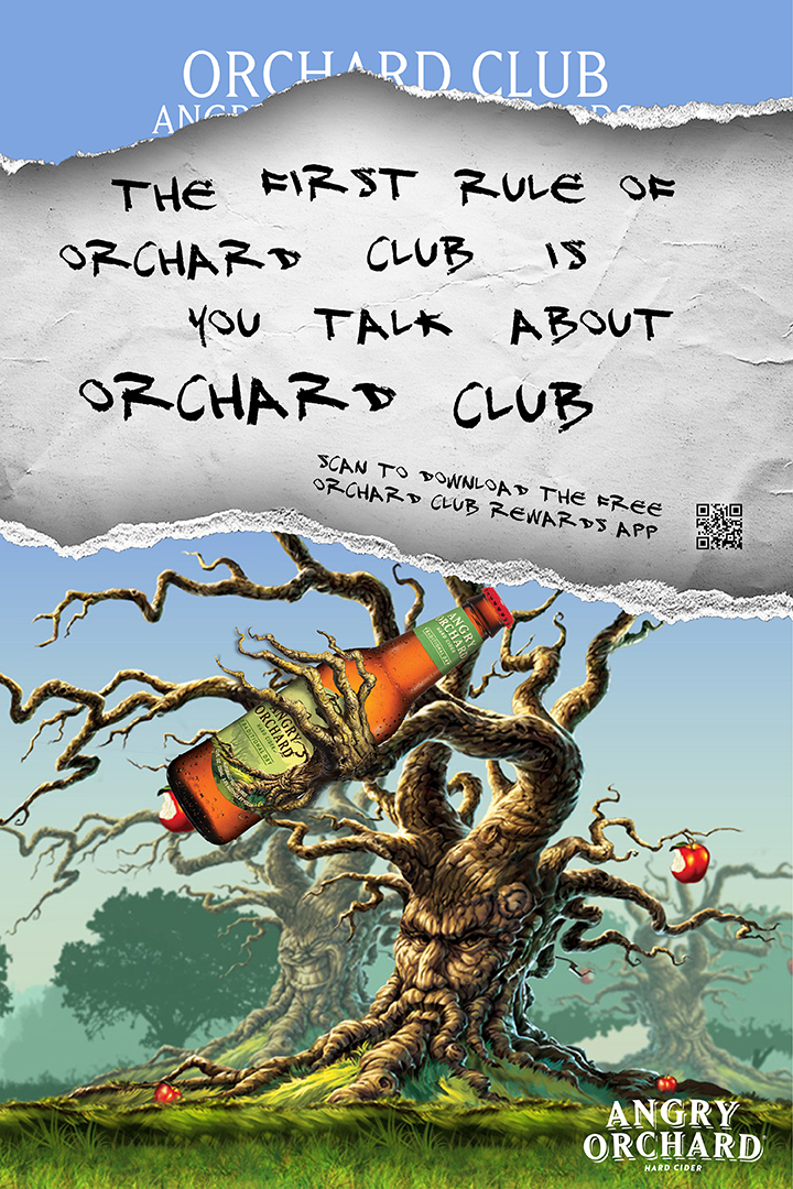 A teaser poster promoting Orchard Club, a rewards program for Angry Orchard  customers.